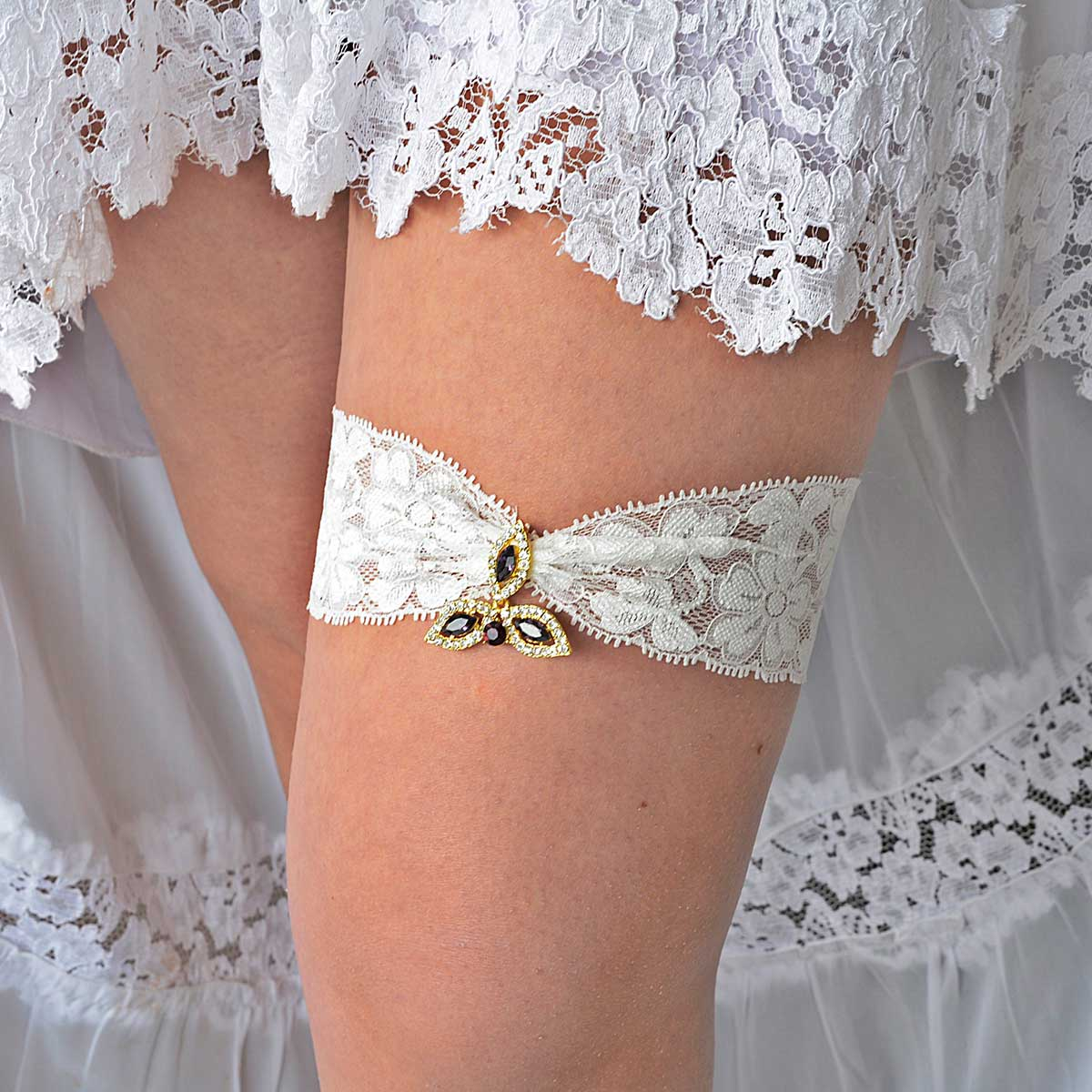 Gold & Purple Rhinestone Bridal Garter Set With Ivory Lace - Wedding Garter - SuzannaM Designs
