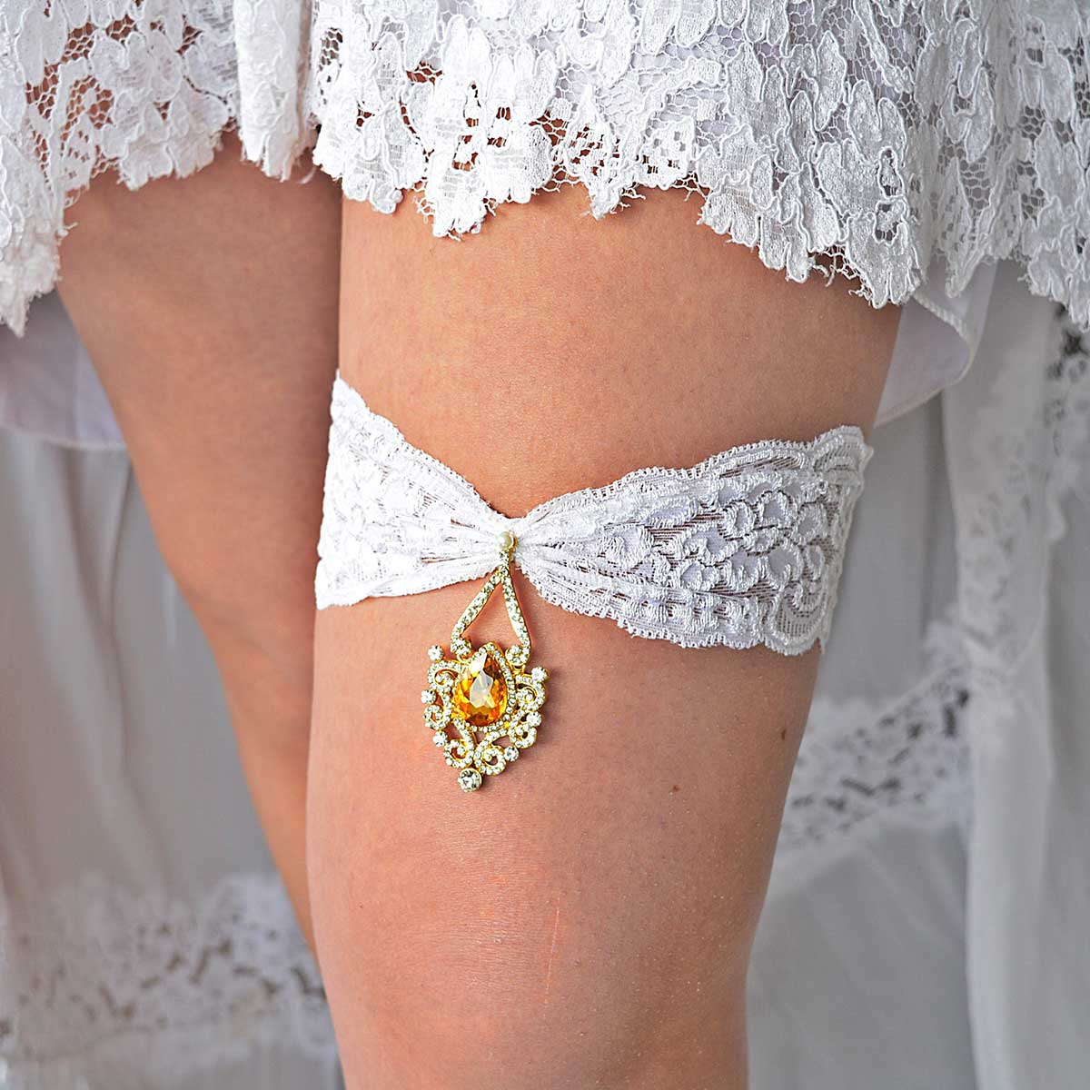 Gold & Yellow Rhinestone Bridal Garter Set With White Lace