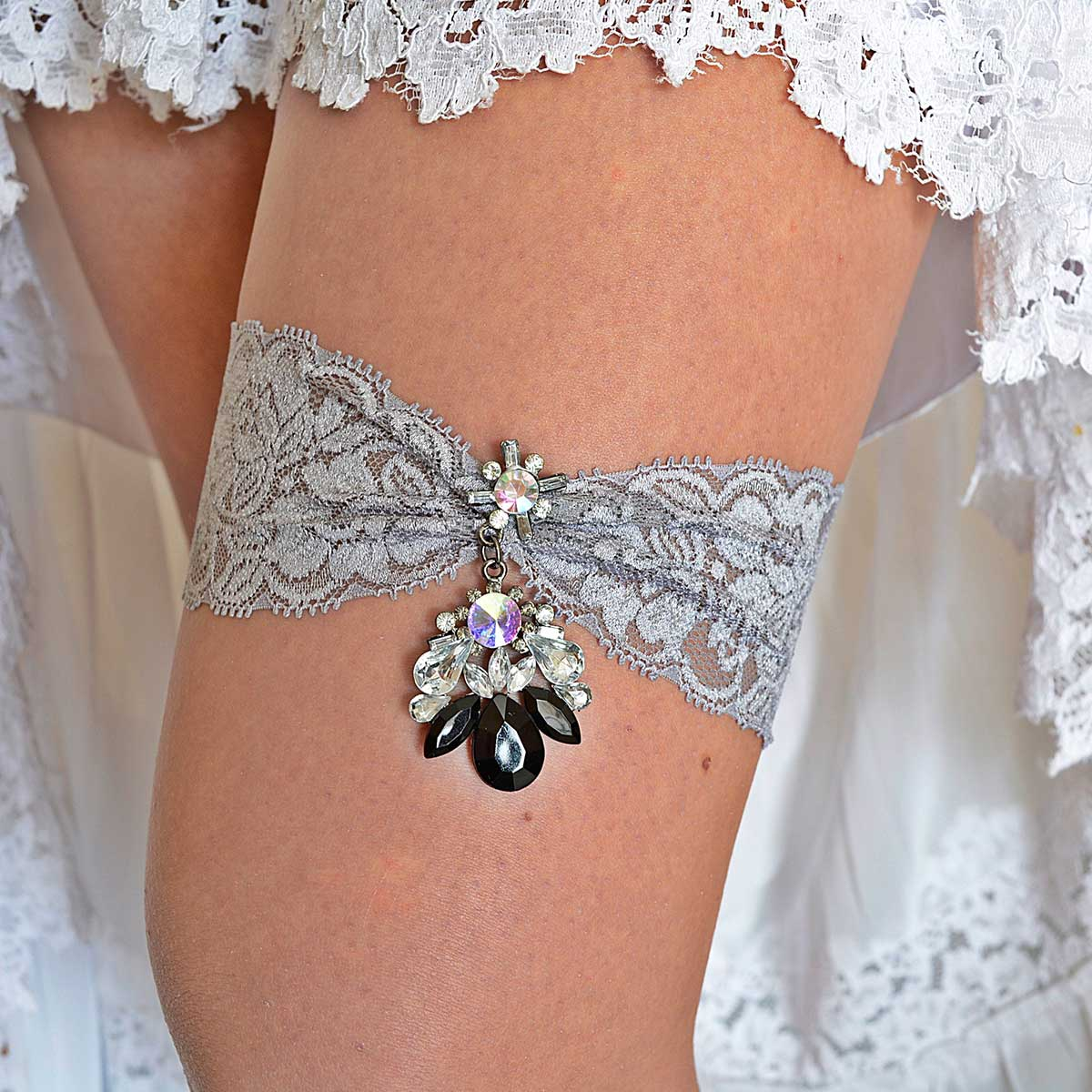 Gray Bridal Garter Set With Black & Clear Rhinestone - Wedding Garter - SuzannaM Designs