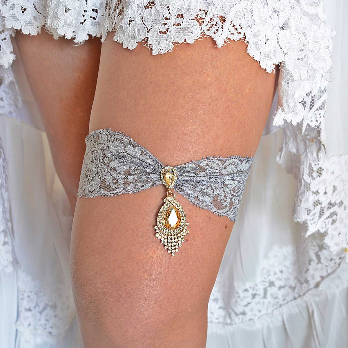 Gray Bridal Garter Set With Gold & Clear Rhinestone - Wedding Garter - SuzannaM Designs