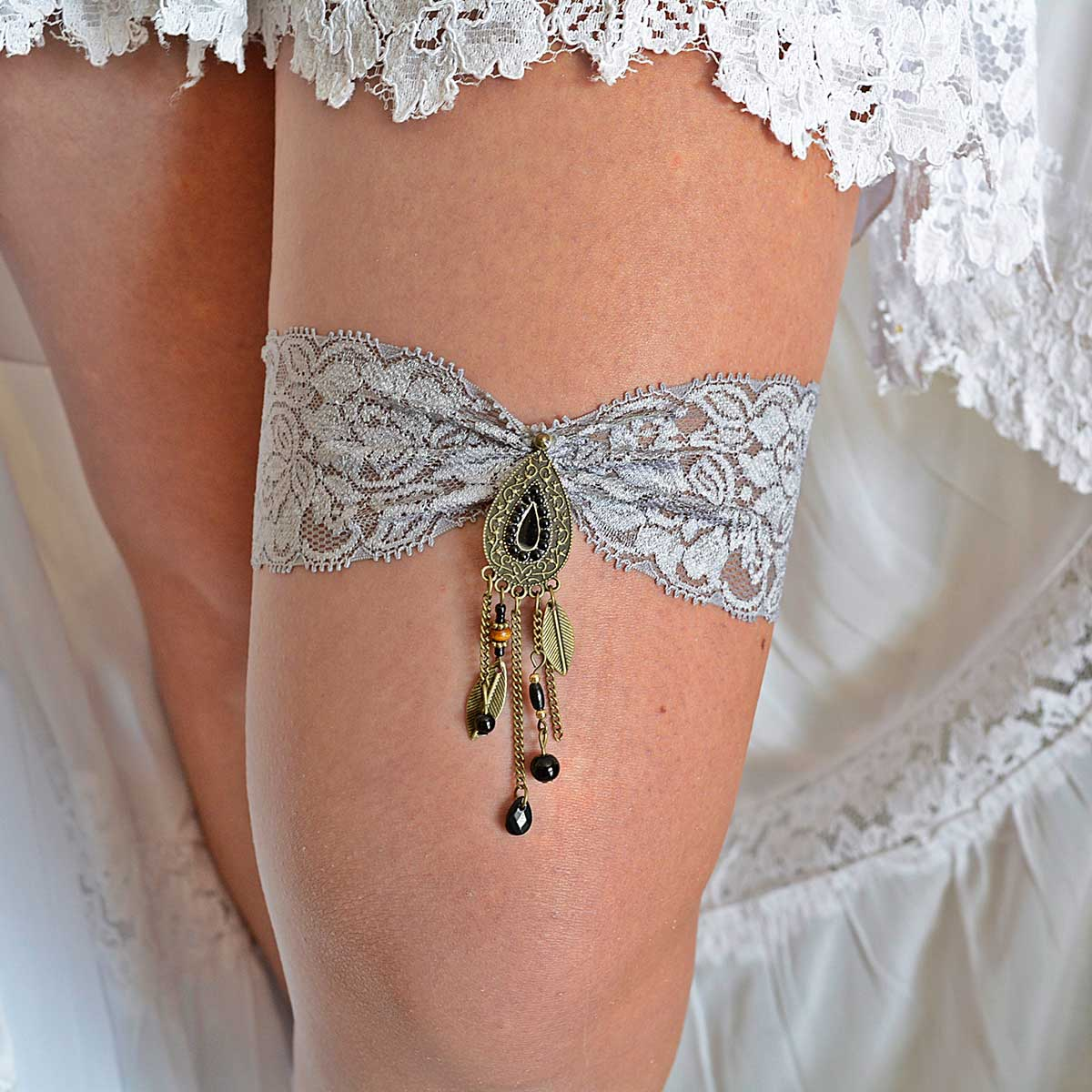 Gray Bridal Garter With Antique Brown & Black Rhinestone - Wedding Garter - SuzannaM Designs