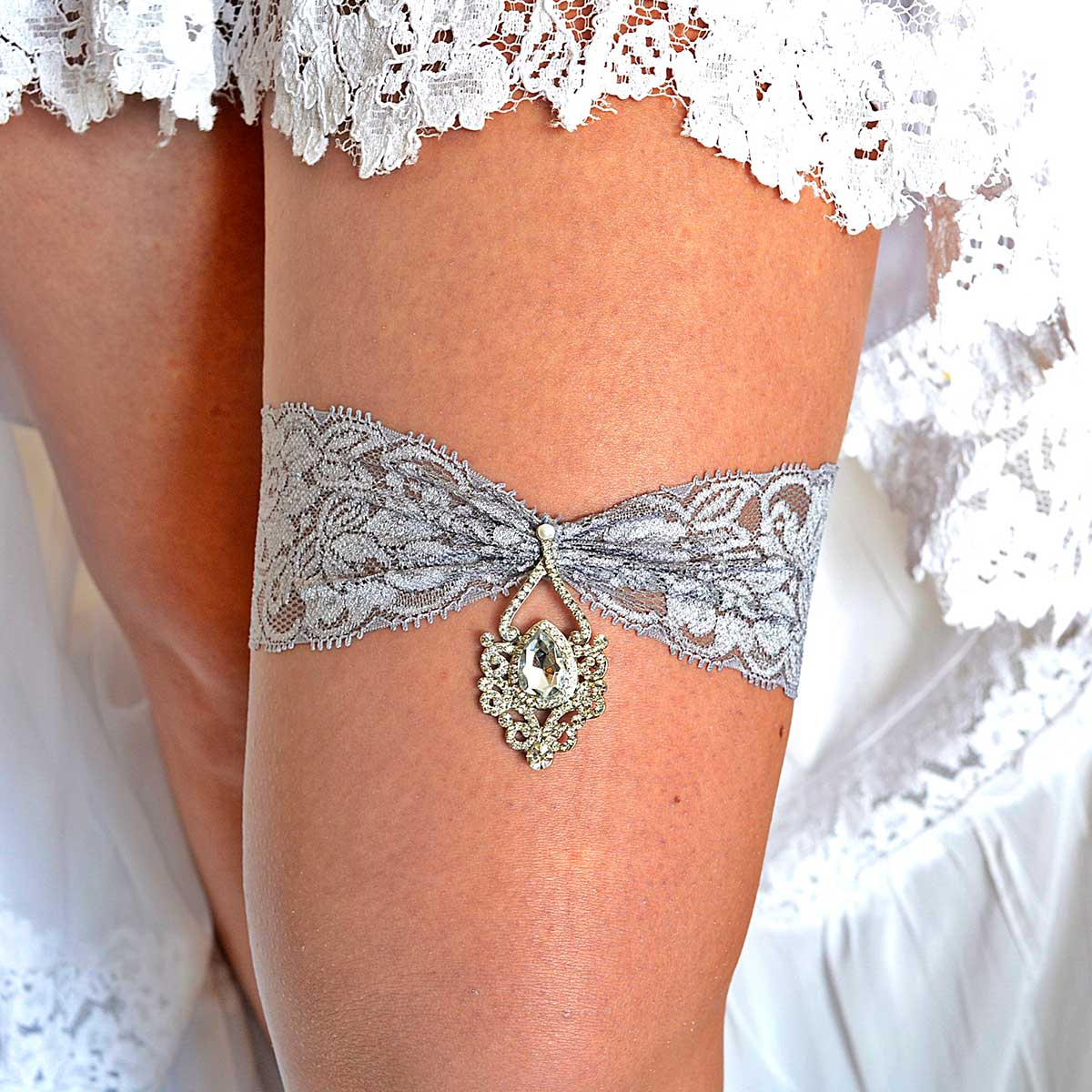 Gray Wedding Garter Set With Clear Rhinestone - Wedding Garter - SuzannaM Designs