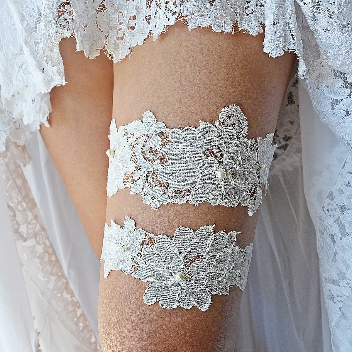 Handmade All Ivory Bridal Garter With Applique Lace & Pearls