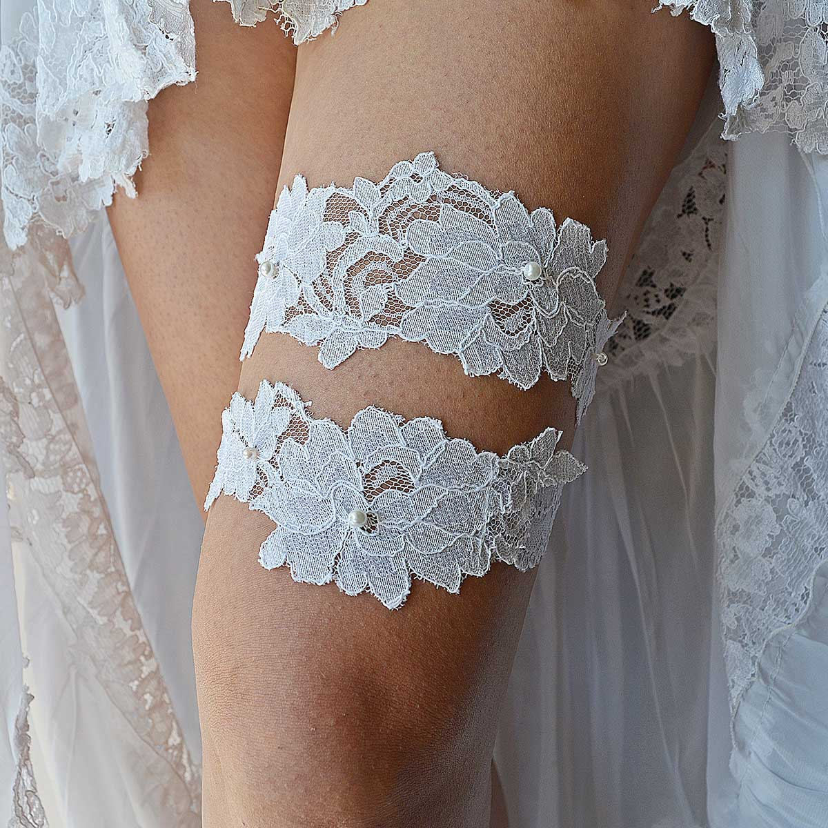 Handmade All White Bridal Garter With Applique Lace & Pearls