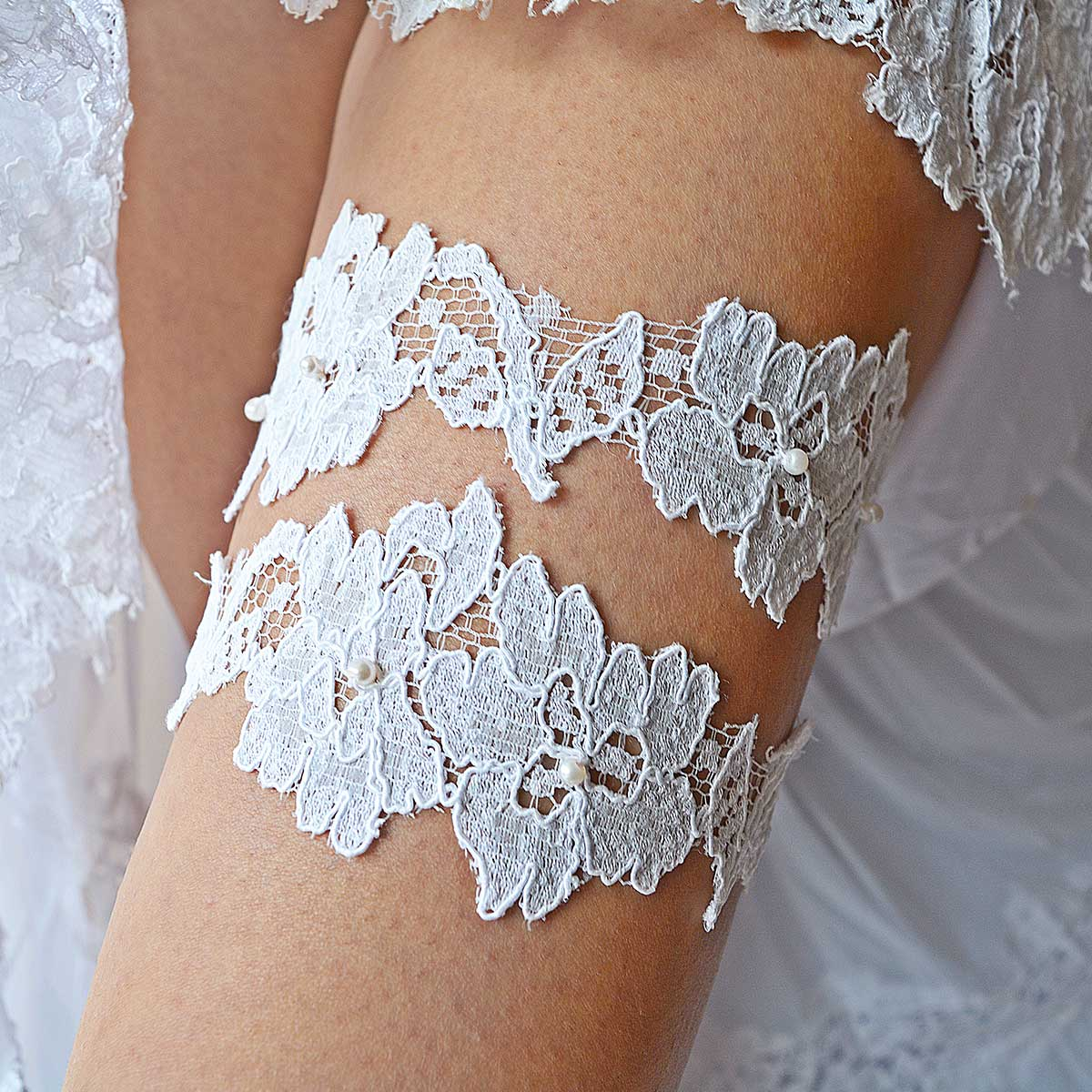 Handmade All White Bridal Garter With Pearls & Applique Lace