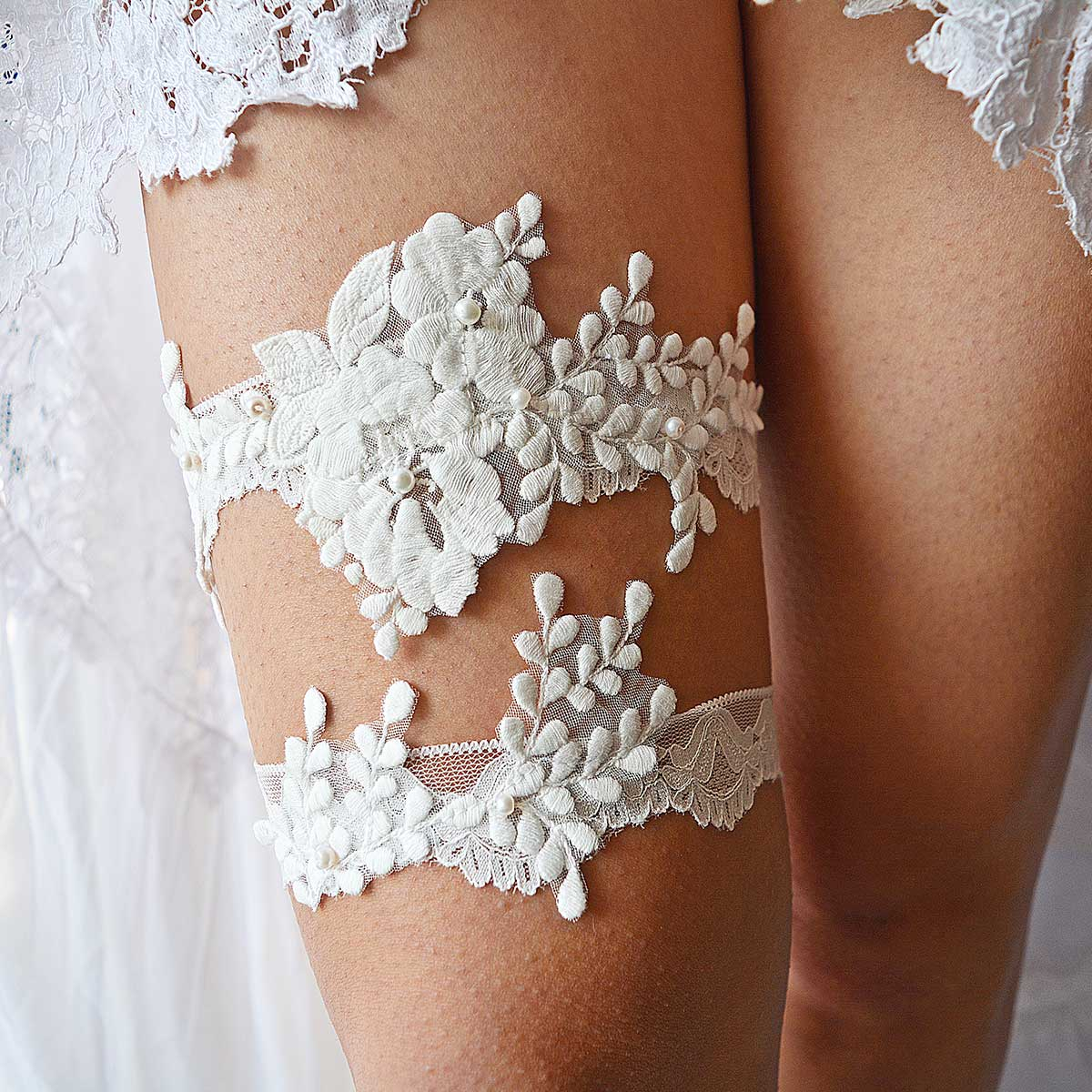 Handmade Off White Bridal Garter With Applique Lace & Pearls