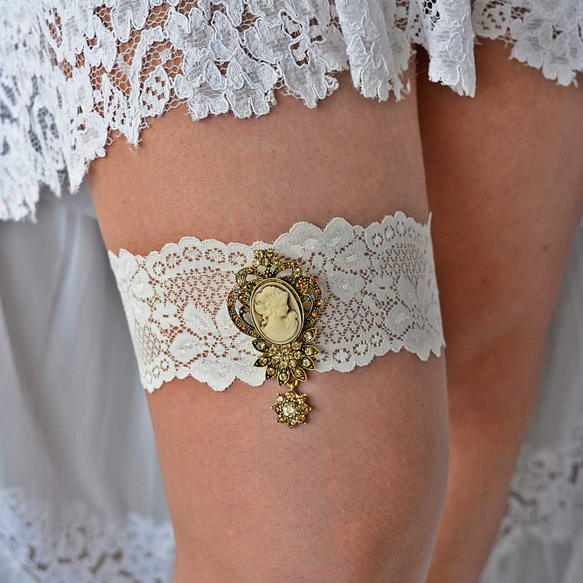 Ivory Bridal Garter Belt With Victorian Gold Rhinestone