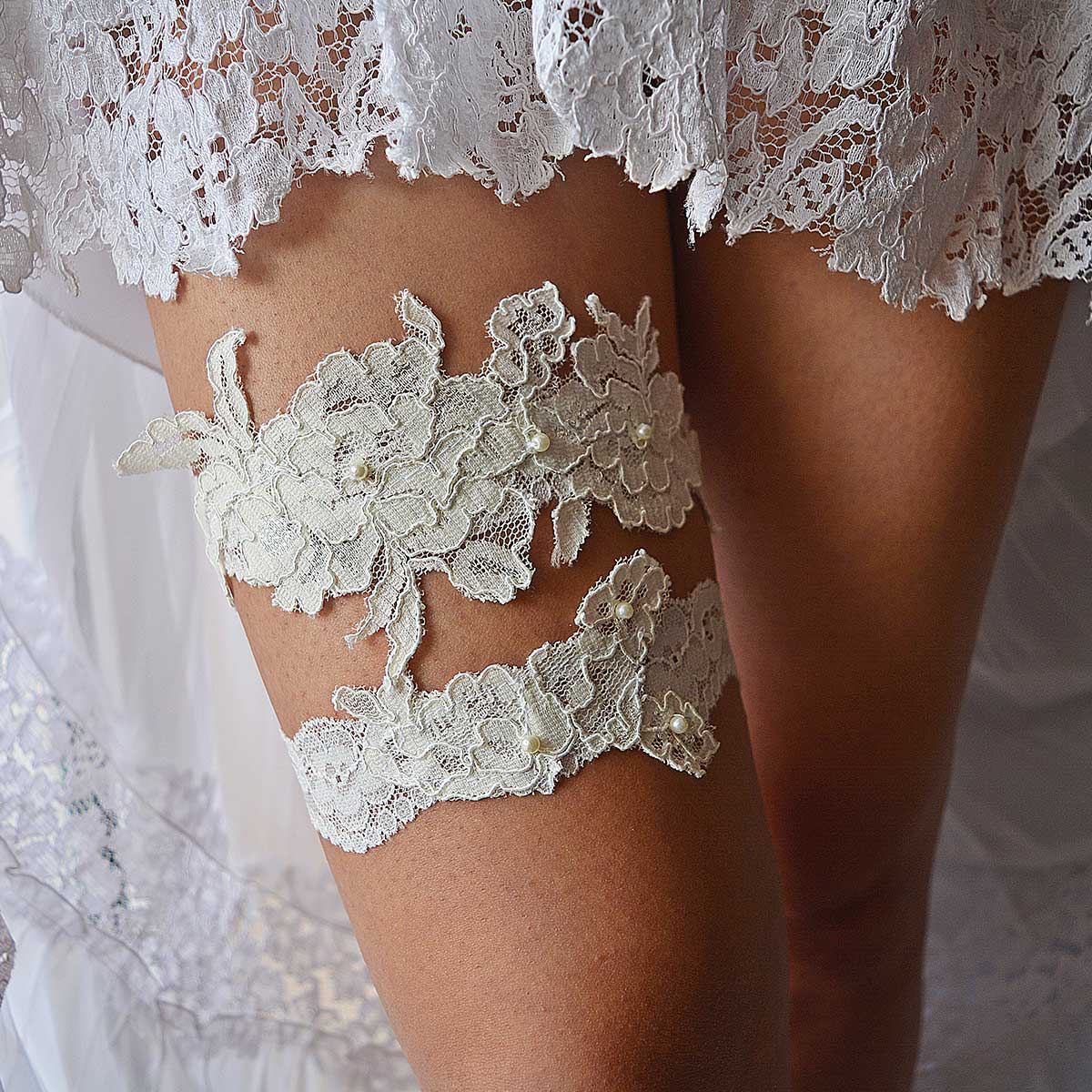 Ivory Bridal Garter With Applique Lace And Ivory Pearls - Wedding Garter - SuzannaM Designs