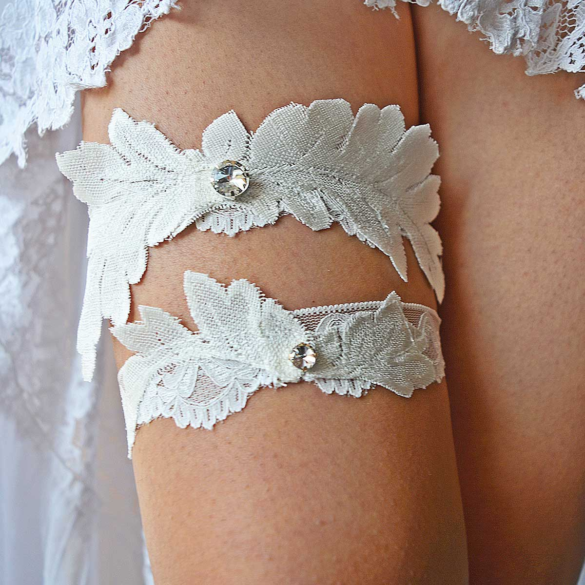 Ivory Bridal Garter With Applique Lace & Clear Rhinestones - Wedding Garter - SuzannaM Designs