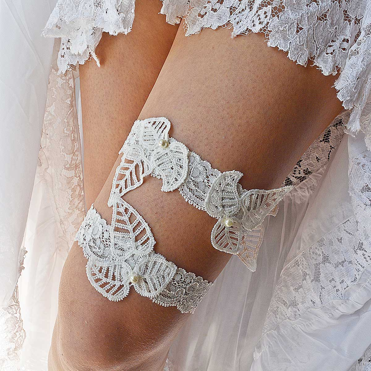 Ivory Bridal Garter With Leaf Applique & Pearls Handmade - Wedding Garter - SuzannaM Designs