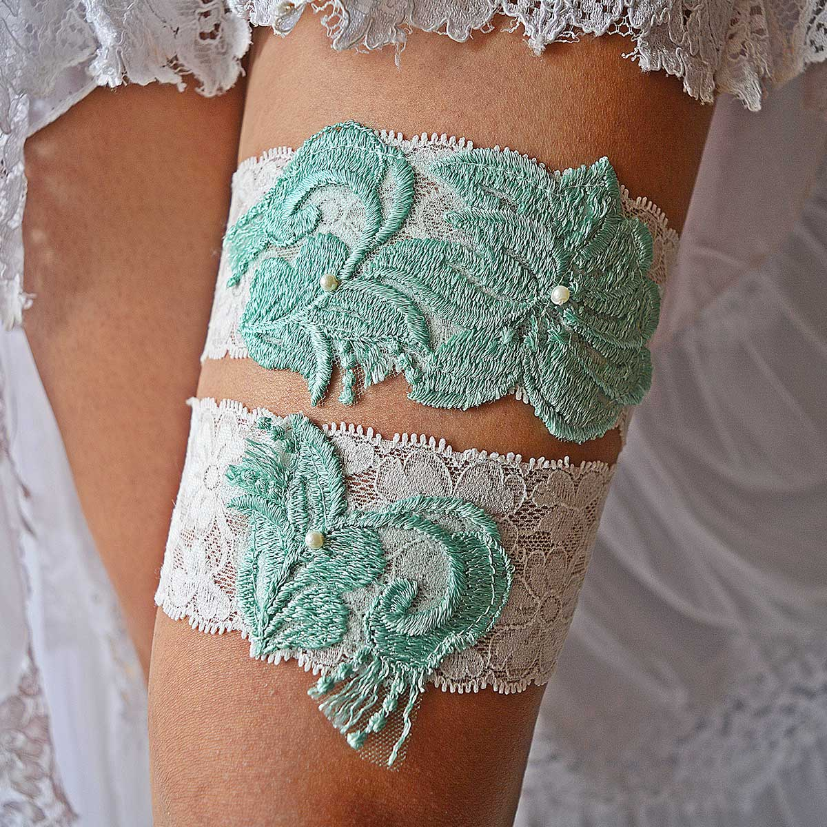 Ivory Bridal Garter With Mint Applique Lace And Ivory Pearls - Wedding Garter - SuzannaM Designs