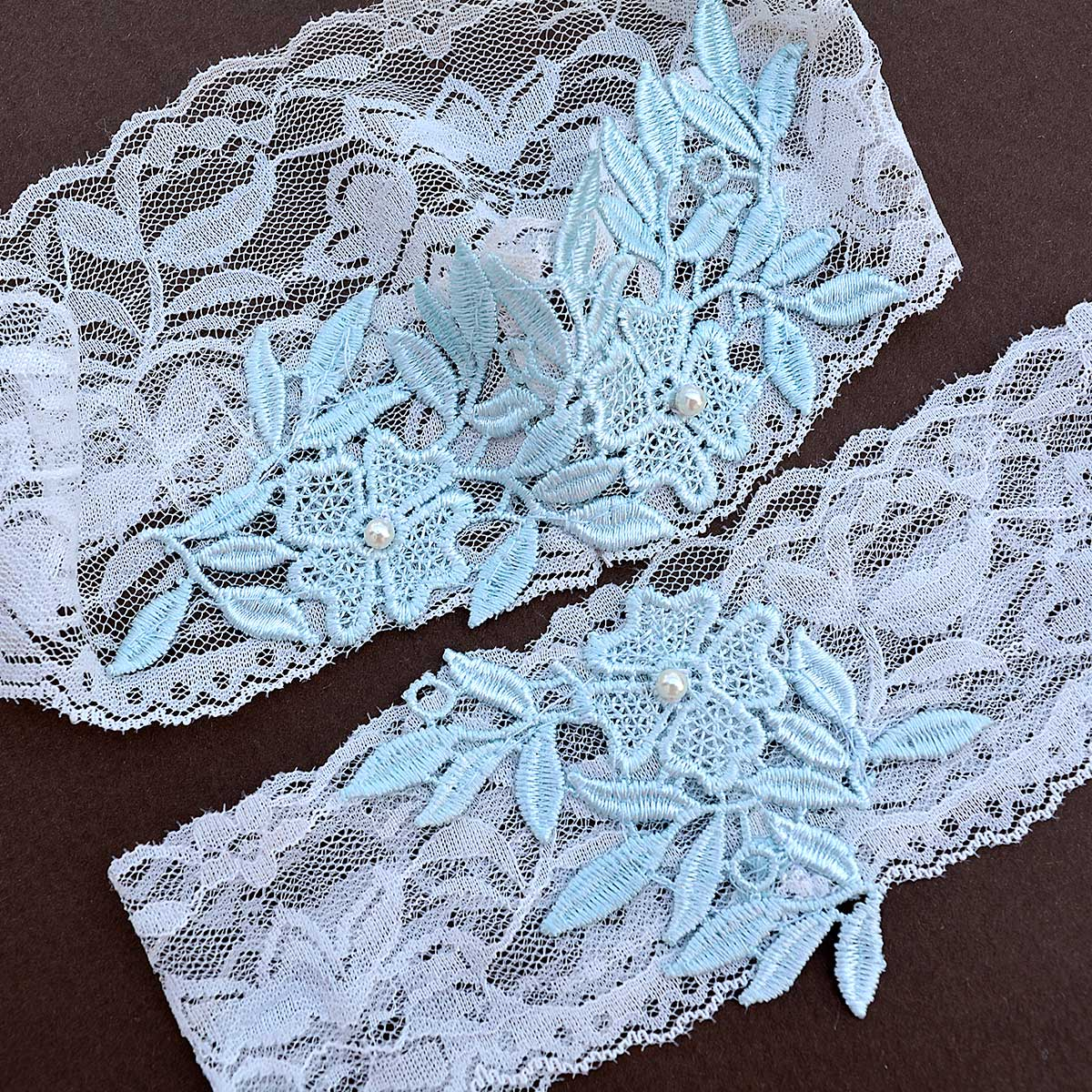 Ivory Bridal Garter With Pale Blue Applique Lace & Ivory Pearls