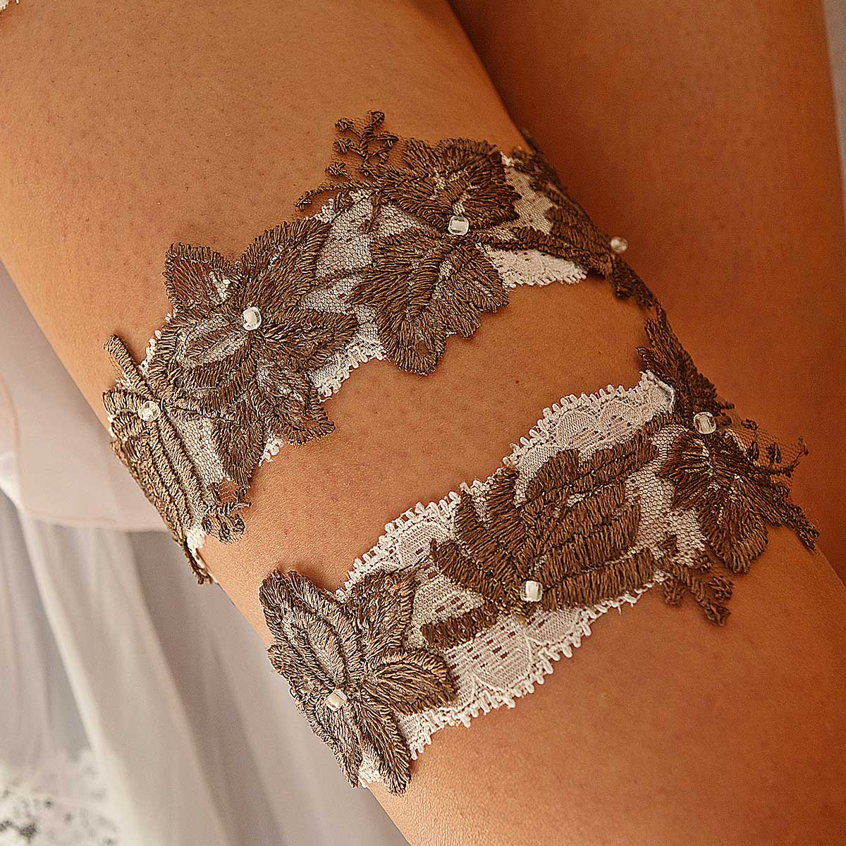 Ivory Bridal Garter With Pearls & Brown Lace Applique - Wedding Garter - SuzannaM Designs