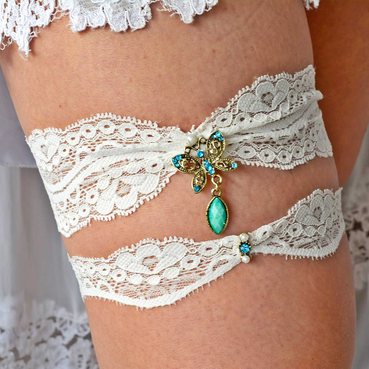 Ivory Lace With Butterfly Rhinestone Bridal Garter Set - Wedding Garter - SuzannaM Designs