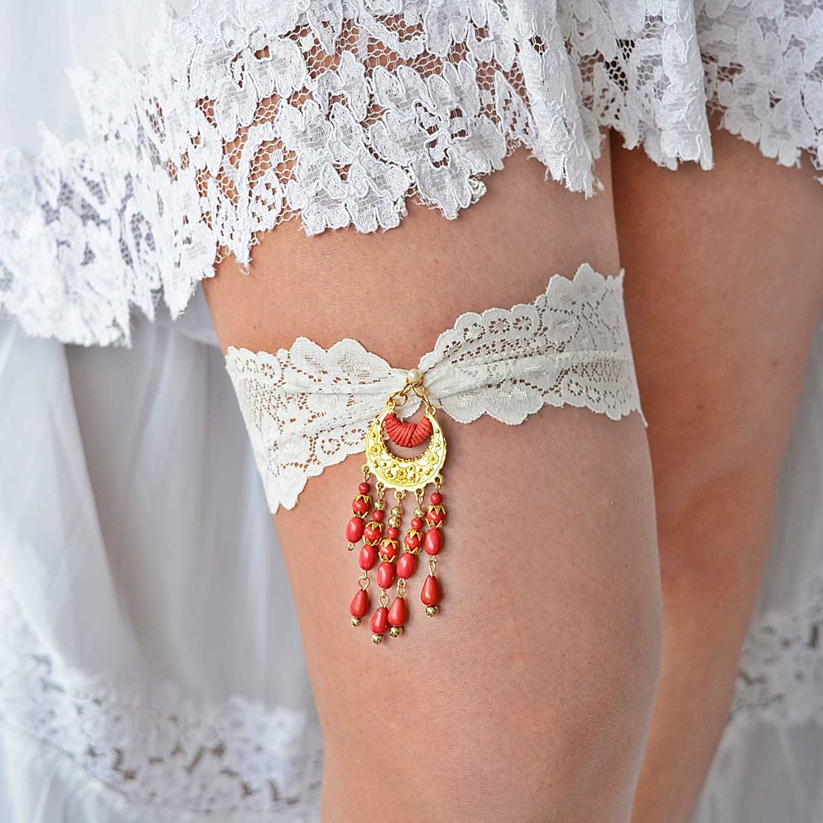 Ivory Wedding Garter Belt With Gold & Red Rhinestone