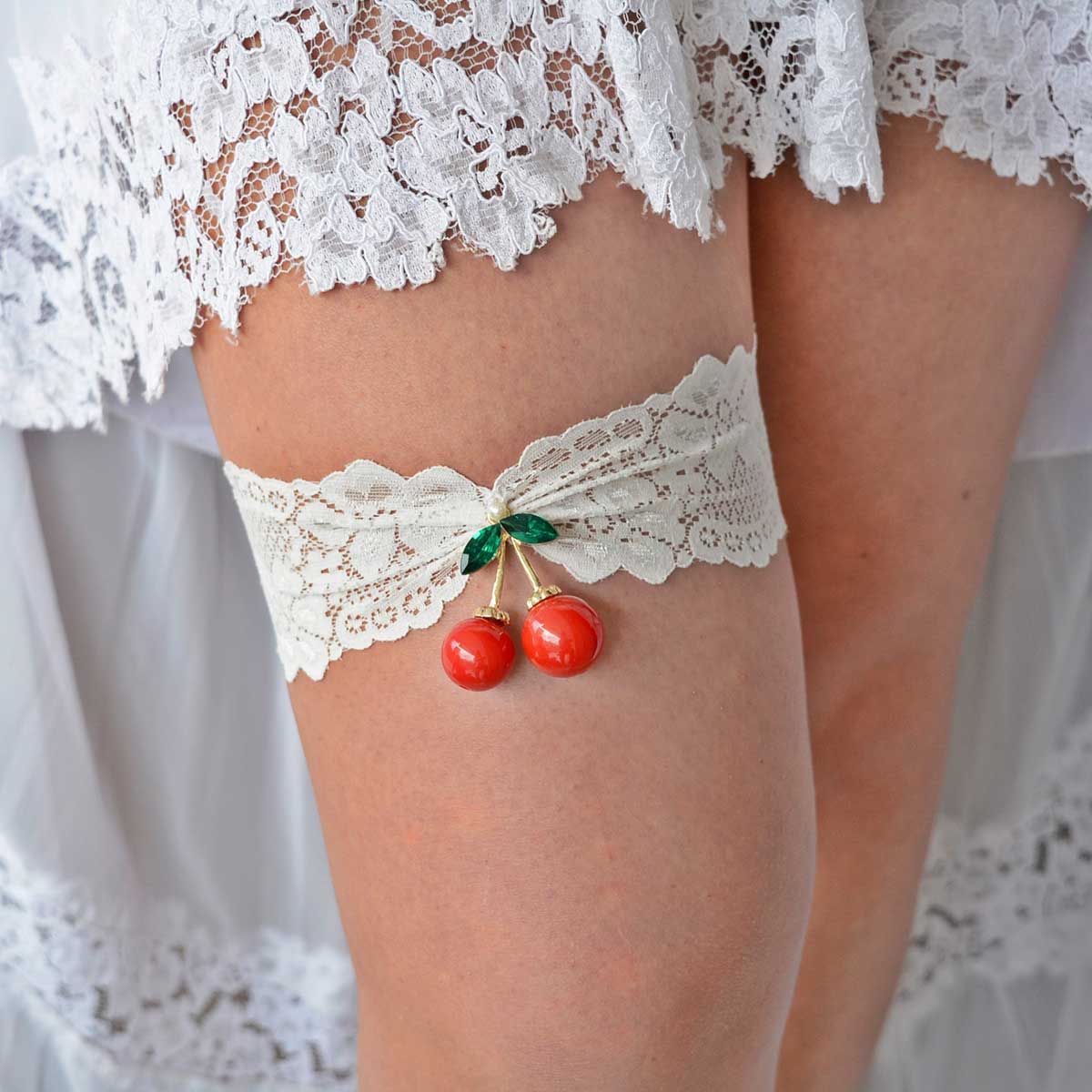Ivory Wedding Garter Belt With Red Cherry Rhinestone