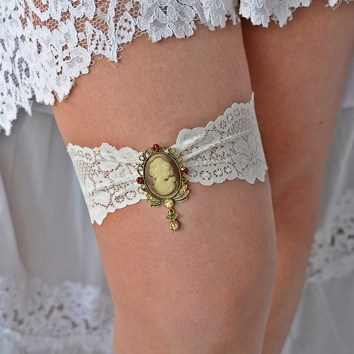 Ivory Wedding Garter Belt With Victorian Gold Rhinestone