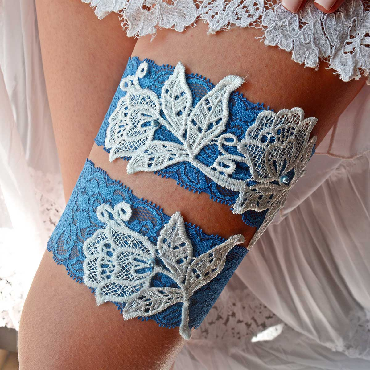 Navy Blue Bridal Garter With Pearls & Flower Applique - Wedding Garter - SuzannaM Designs