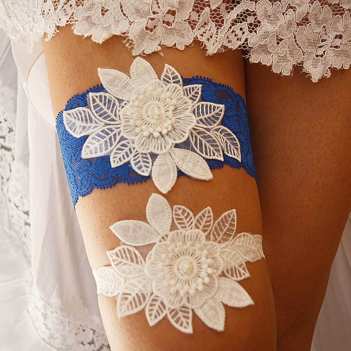 Navy Blue Bridal Garter With White Flower Applique & Pearls