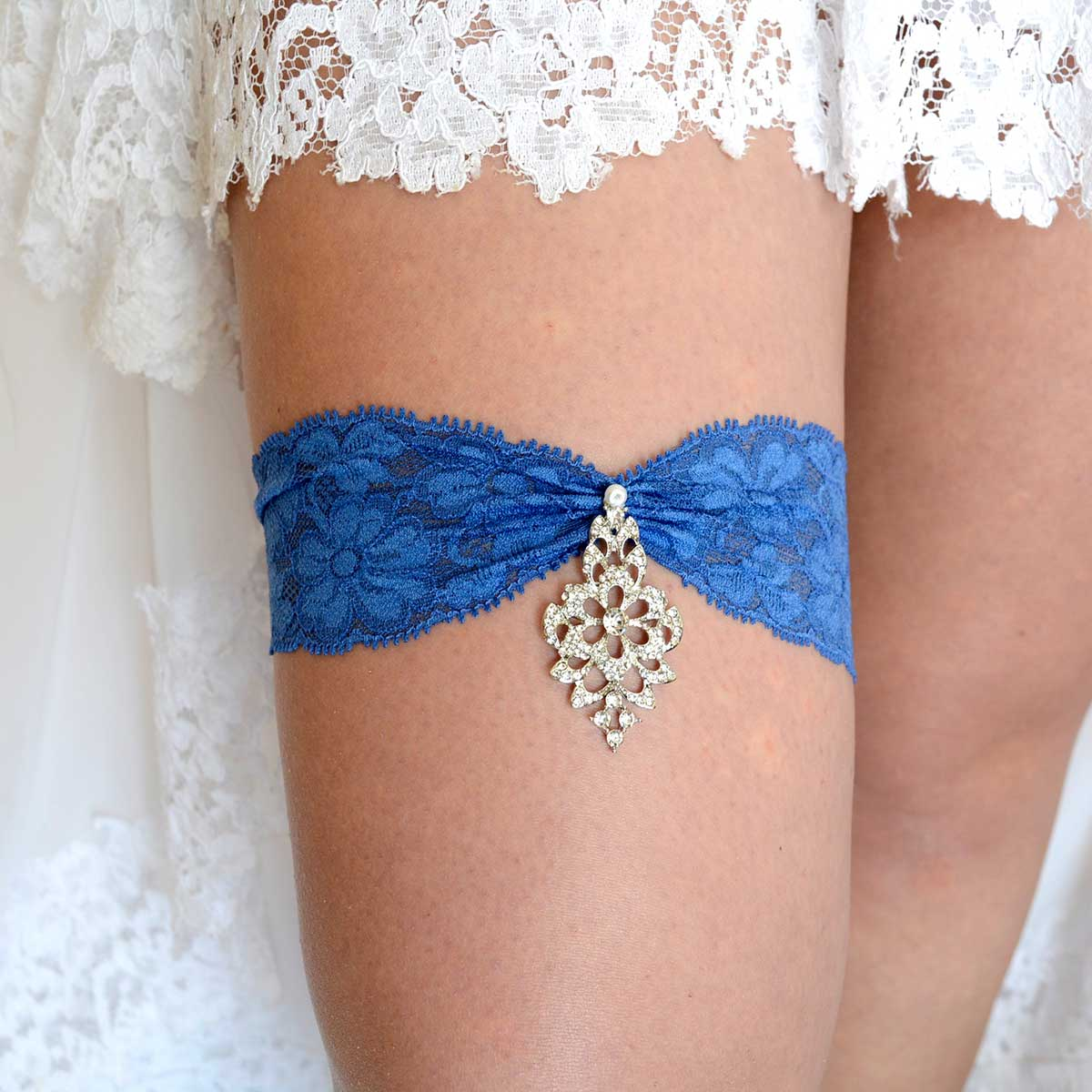 Navy Blue Wedding Garter Belt With Clear Rhinestone - Wedding Garter - SuzannaM Designs