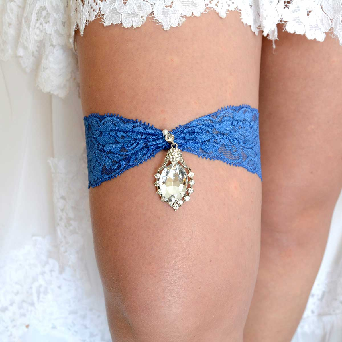Navy Blue Wedding Garter Set With Clear Rhinestone - Wedding Garter - SuzannaM Designs