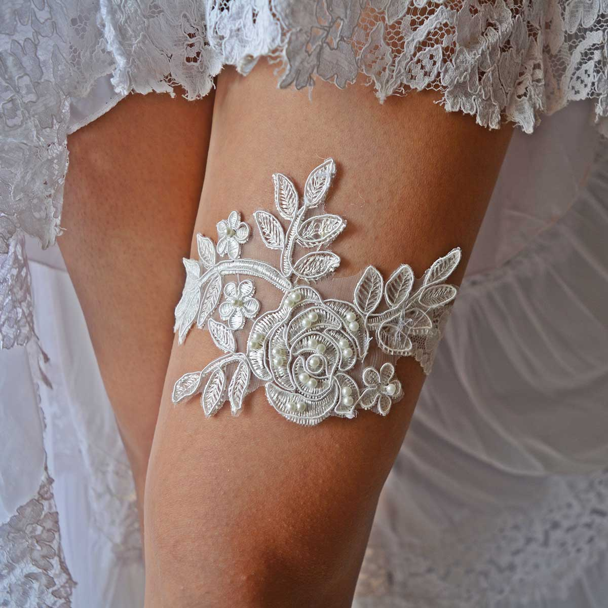 Off White Bridal Garter With Applique Lace And White Pearls - Wedding Garter - SuzannaM Designs