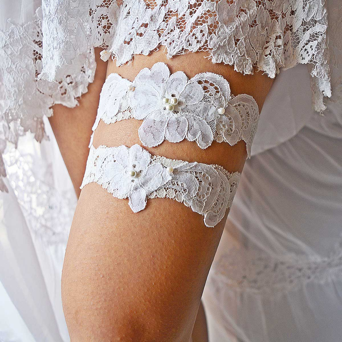 Off White Bridal Garter With White Pearls Handmade - Wedding Garter - SuzannaM Designs