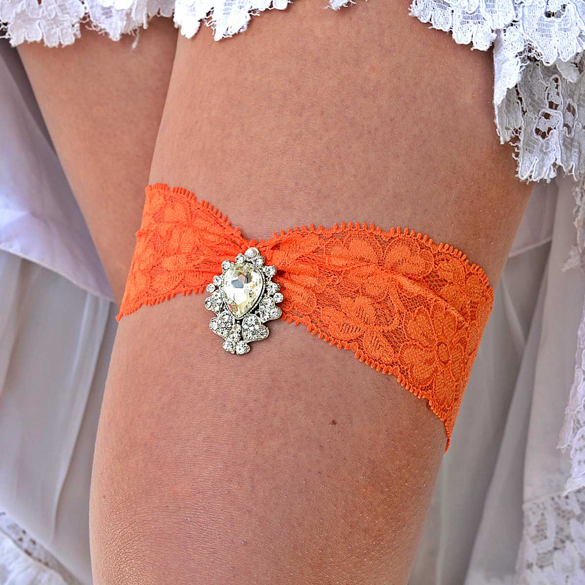 Orange Bridal Garter Belt Set With Clear Rhinestones Jewel - Wedding Garter - SuzannaM Designs