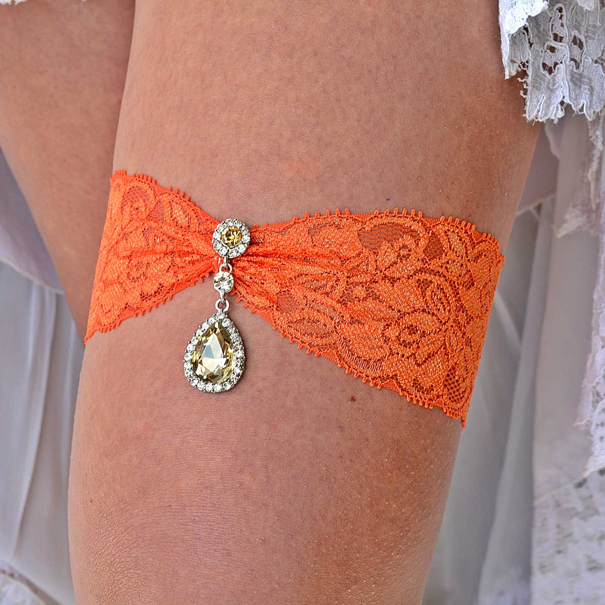 Orange Bridal Garter With Champagne & Clear Rhinestones - Wedding Garter - SuzannaM Designs