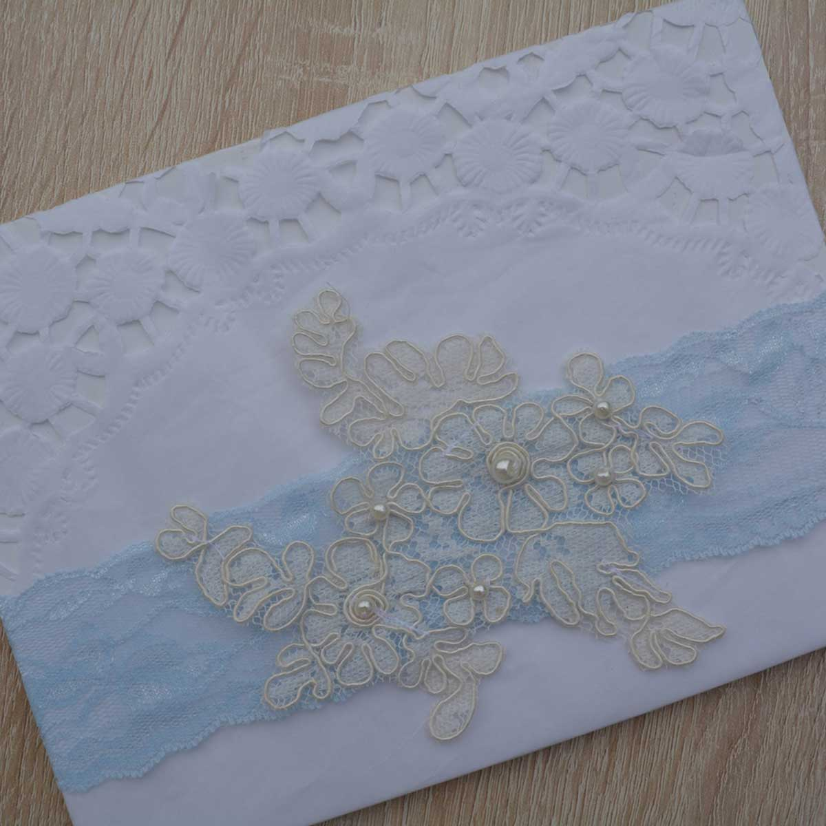 Pale Blue Bridal Garter With Ivory Flower Applique & Pearls