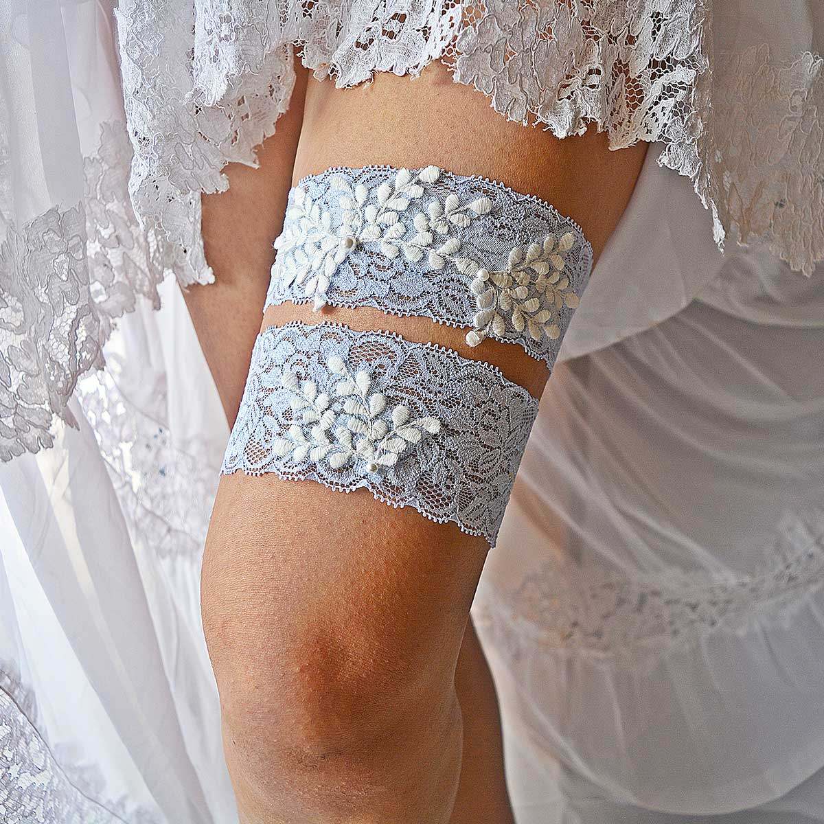 Pale Blue Bridal Garter With Pearls & White Applique Lace