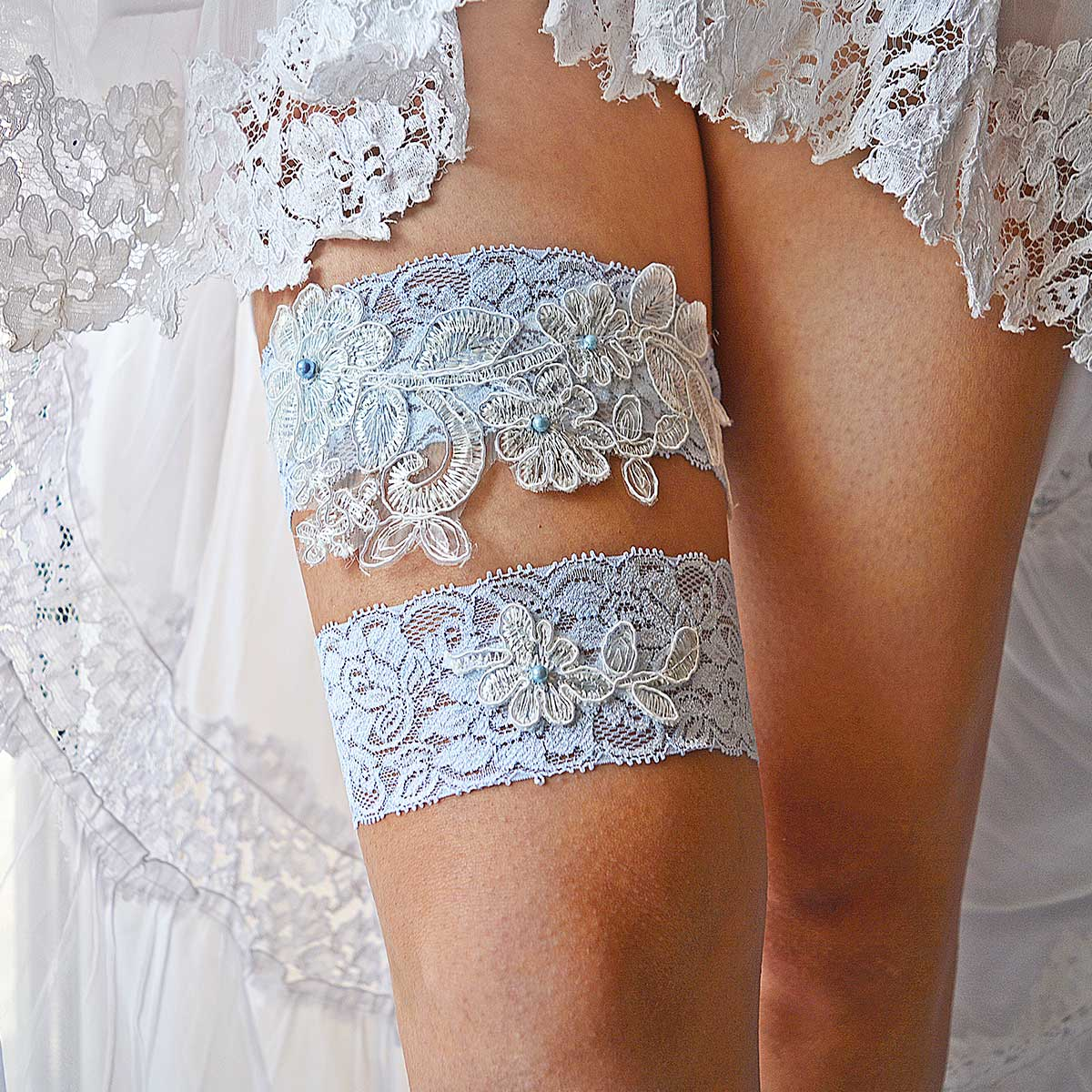 Pale Blue Bridal Garter With White Flower Applique & Pearls
