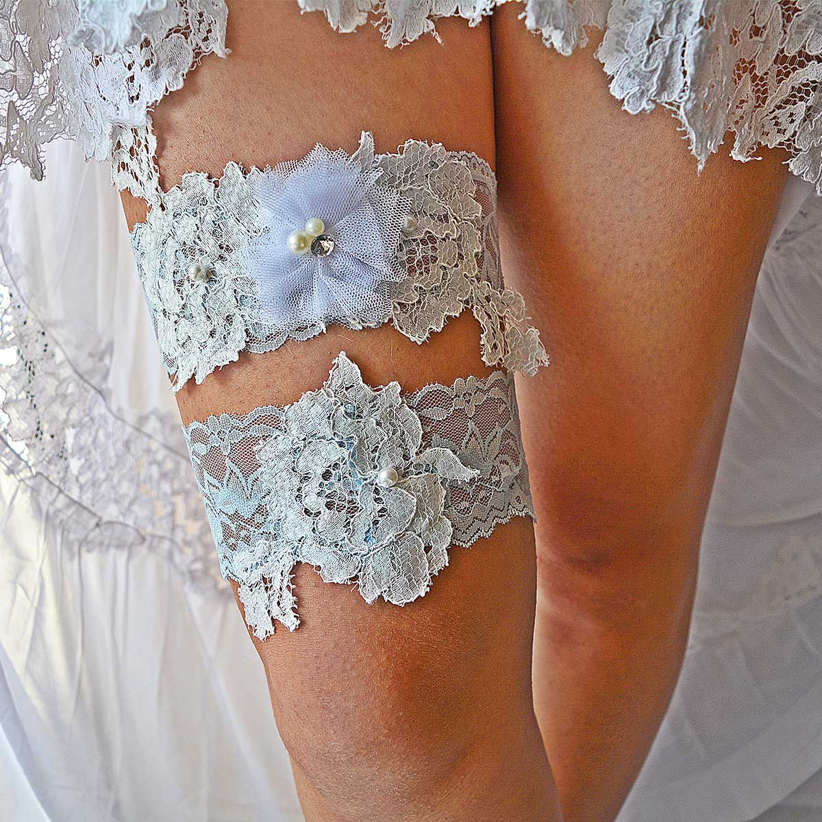 Pale Blue Garter With Off White Applique Lace & White Flower - Wedding Garter - SuzannaM Designs