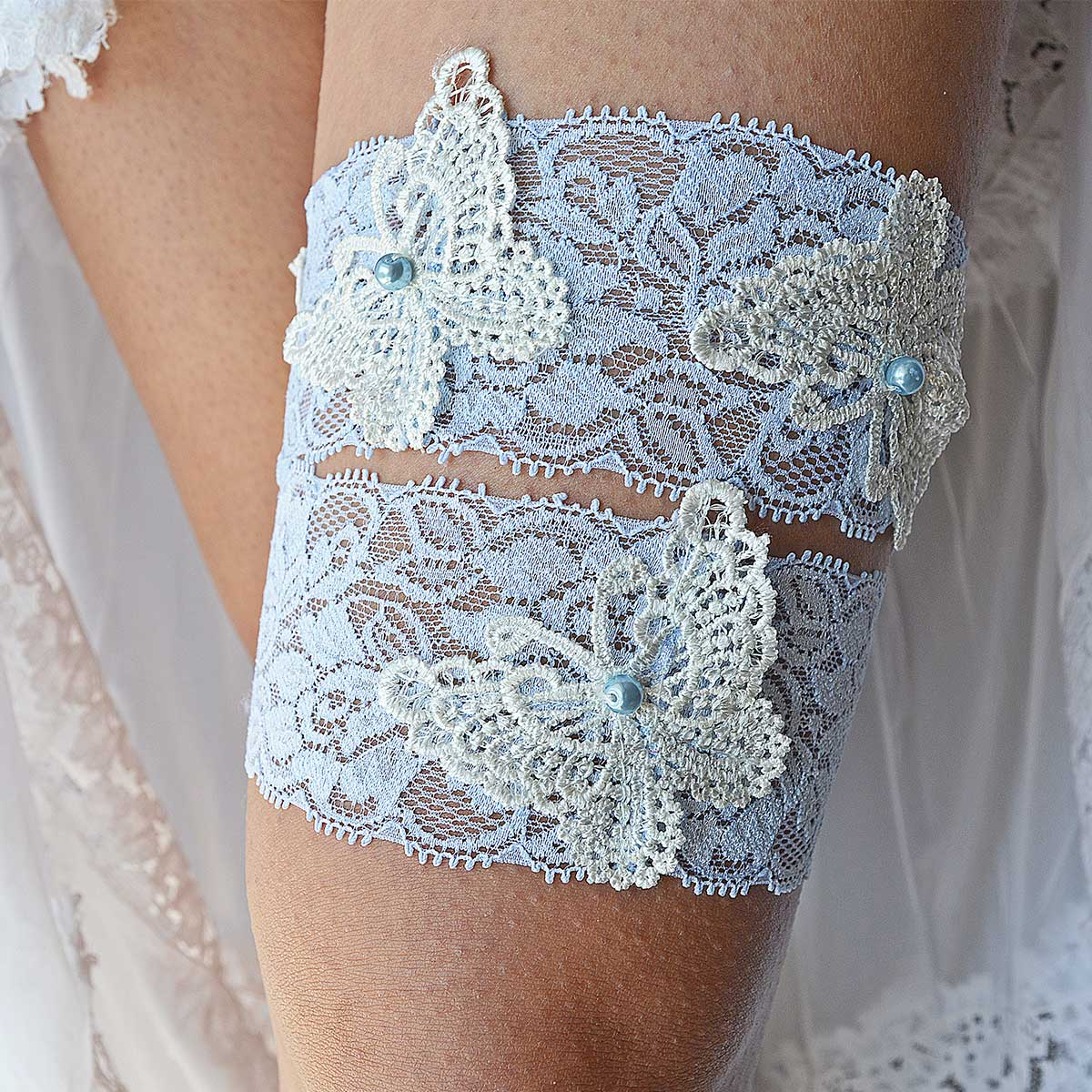 Pale Blue Pearl Bridal Garter With White Butterfly Applique Lace