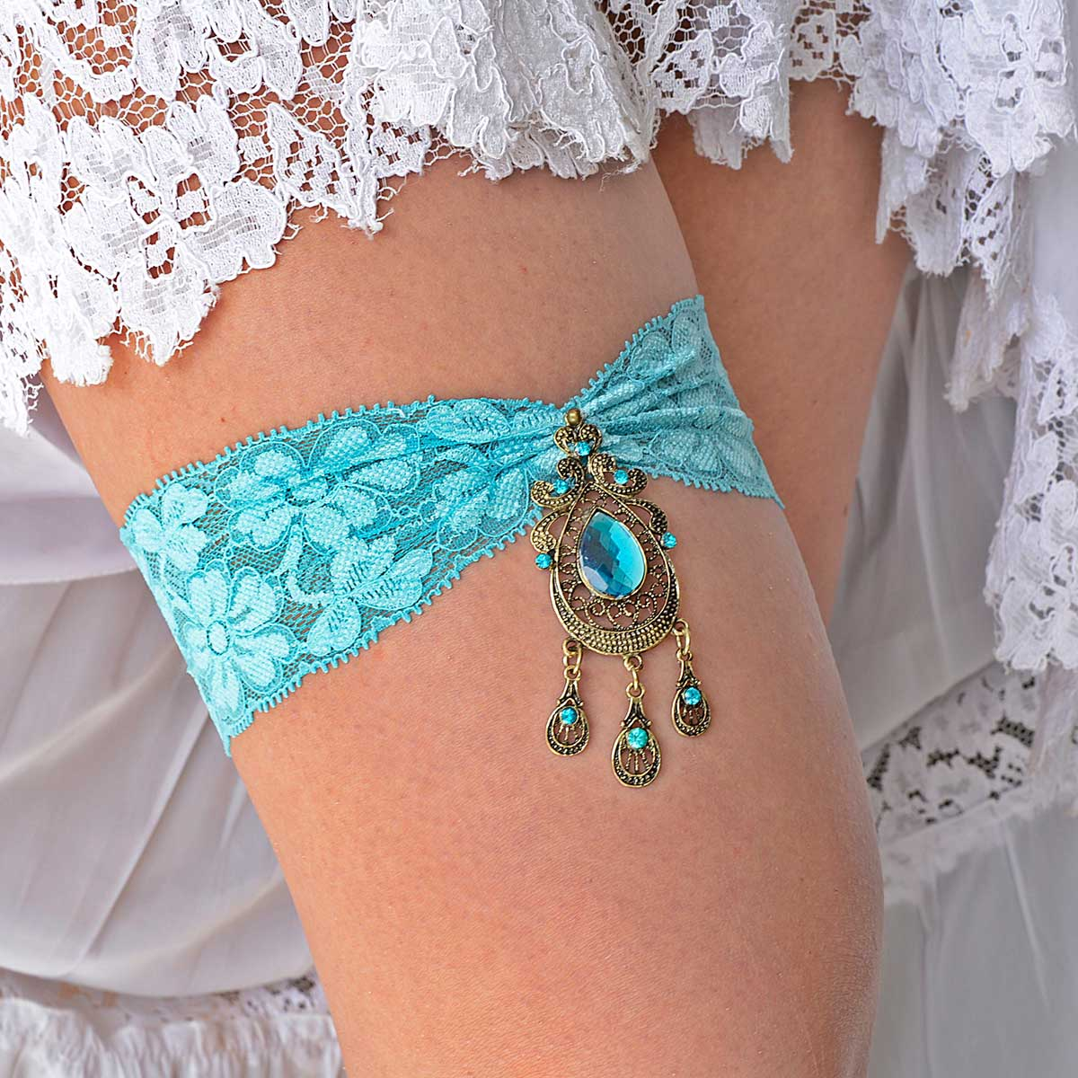Pale Teal Blue Bridal Garter Set With Antique Gold Rhinestone - Wedding Garter - SuzannaM Designs