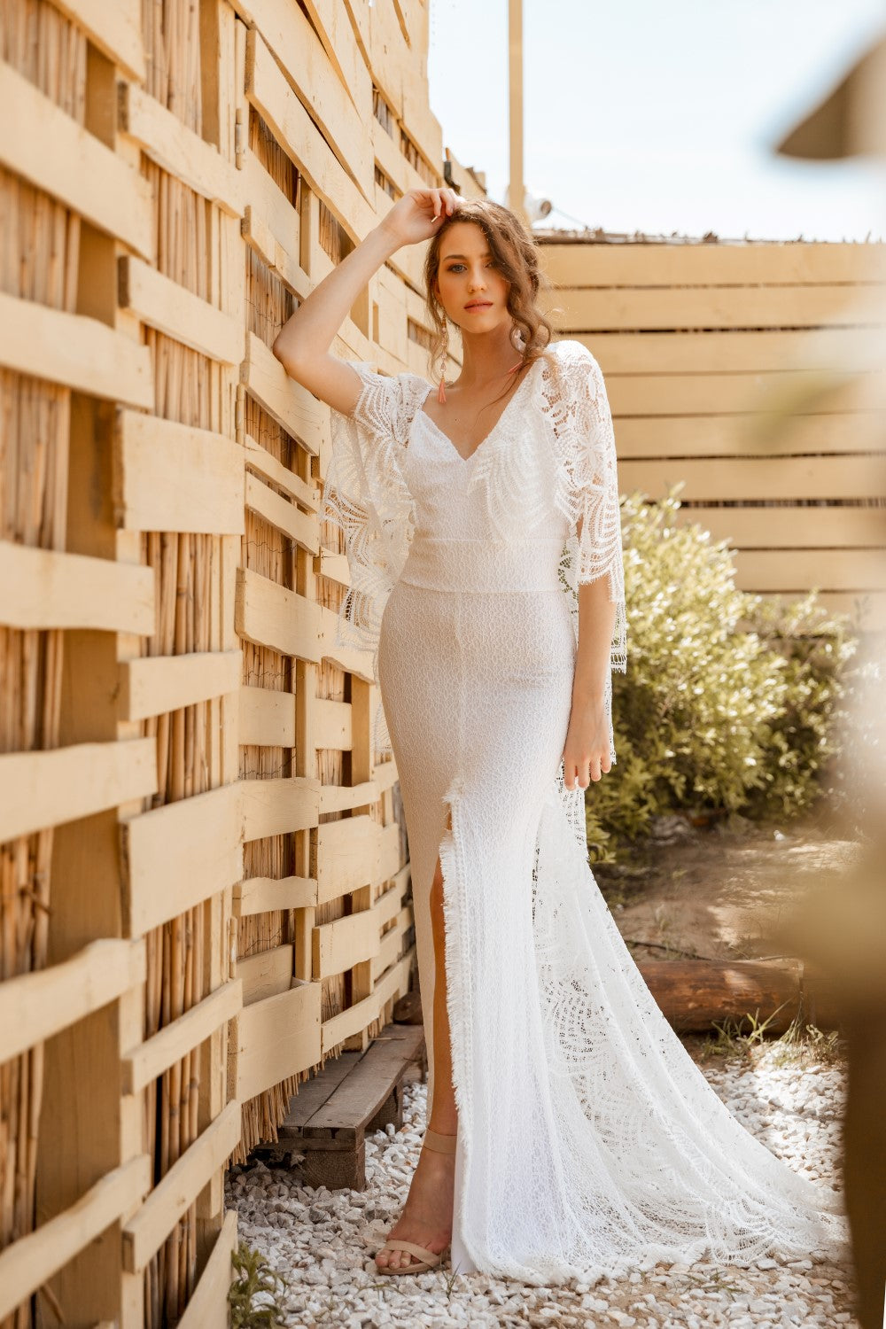 Patricia Bohemian Bat Sleeve Wedding Dress
