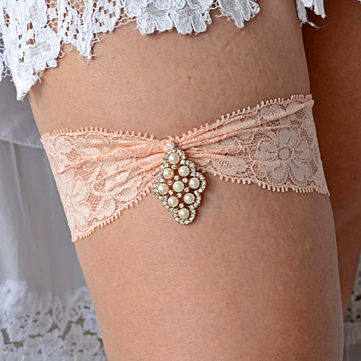 Peach Bridal Garter With Rhinestones & Pearls Handmade