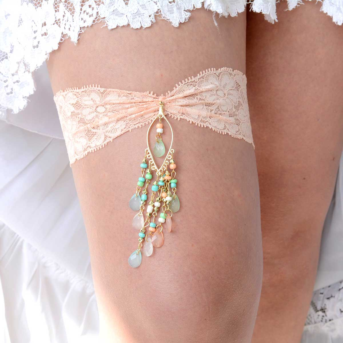 Peach & Mint Rhinestone Bridal Garter Set With Peach Lace - Wedding Garter - SuzannaM Designs