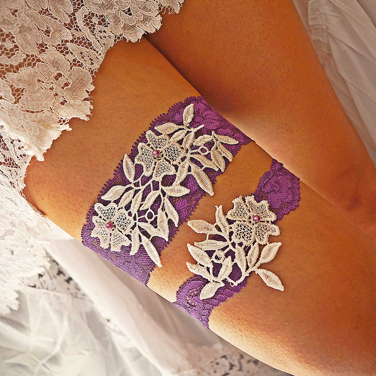 Purple Bridal Garter With Pearls & White Flower Applique Lace - Wedding Garter - SuzannaM Designs