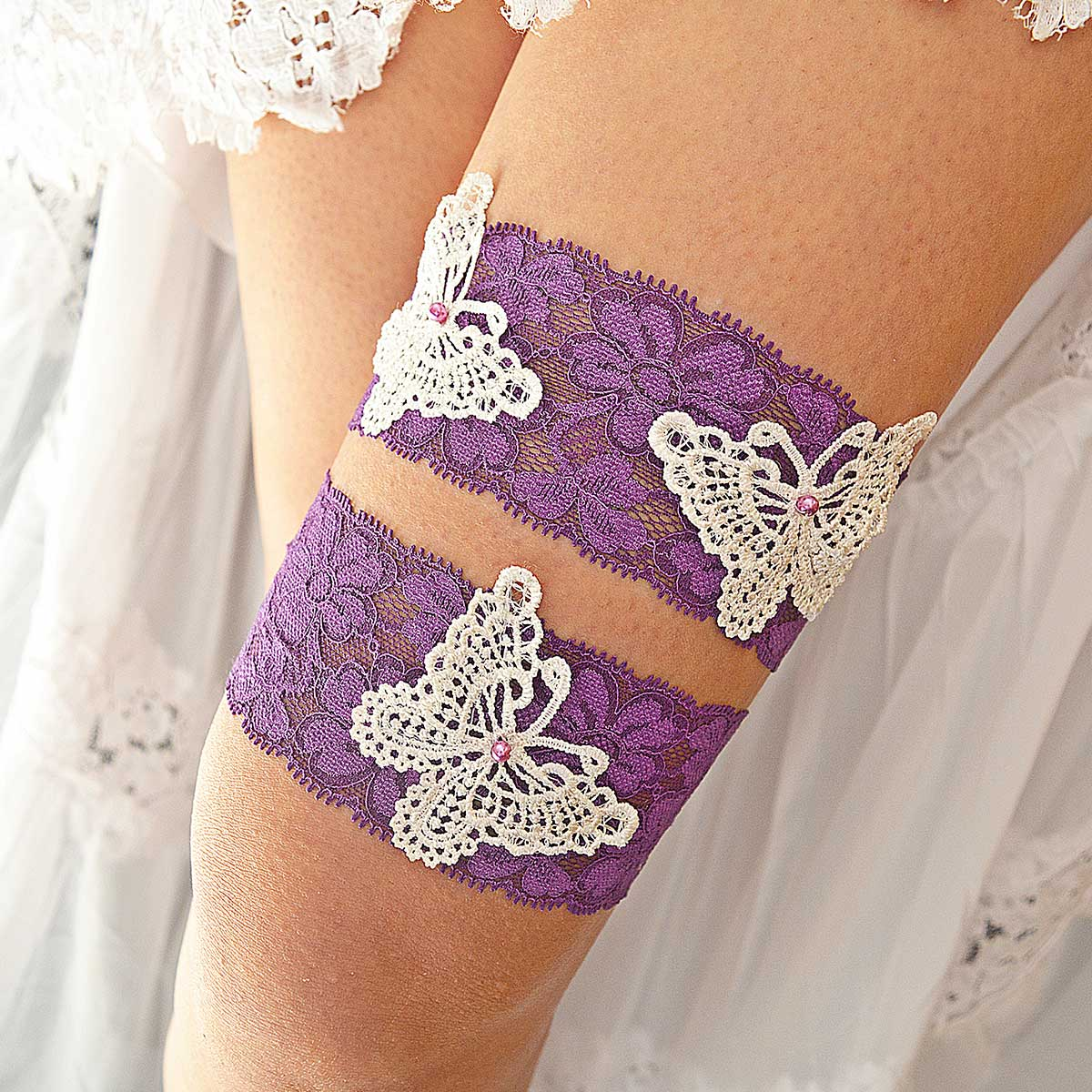 Purple Bridal Garter With White Butterfly Appliques & Pearls - Wedding Garter - SuzannaM Designs