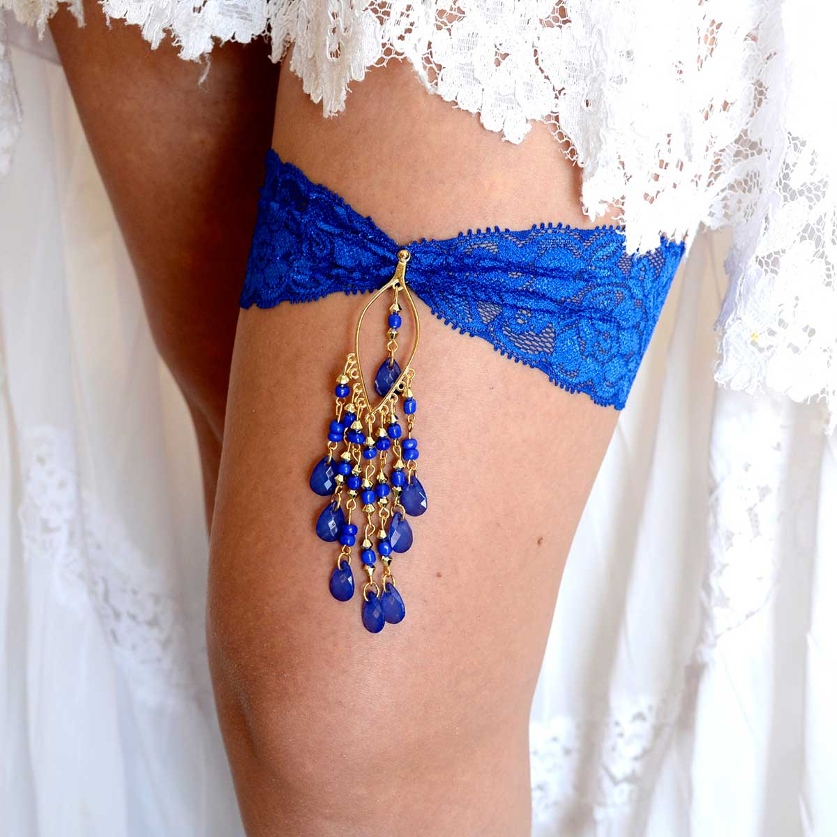 Royal Blue Bridal Garter Set With Gold & Blue Rhinestone - Wedding Garter - SuzannaM Designs