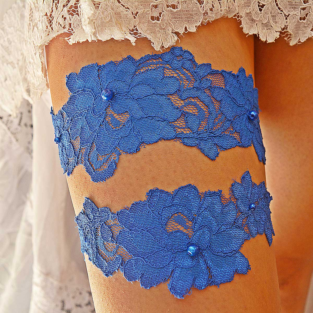 Royal Blue Bridal Garter With Pearls & Flower Lace Applique - Wedding Garter - SuzannaM Designs