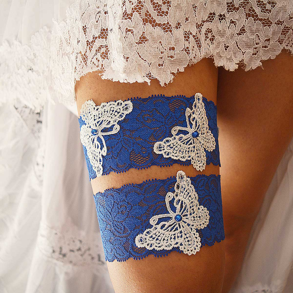 Royal Blue Bridal Garter With White Butterfly Applique & Pearls