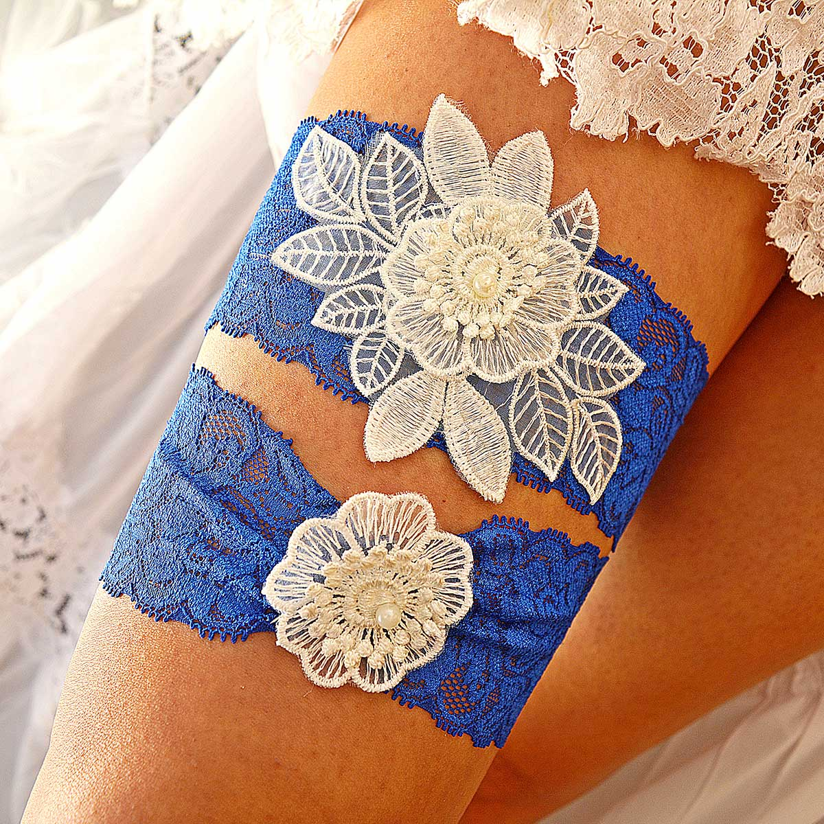 Royal Blue Bridal Garter With White Flower Applique & Pearls