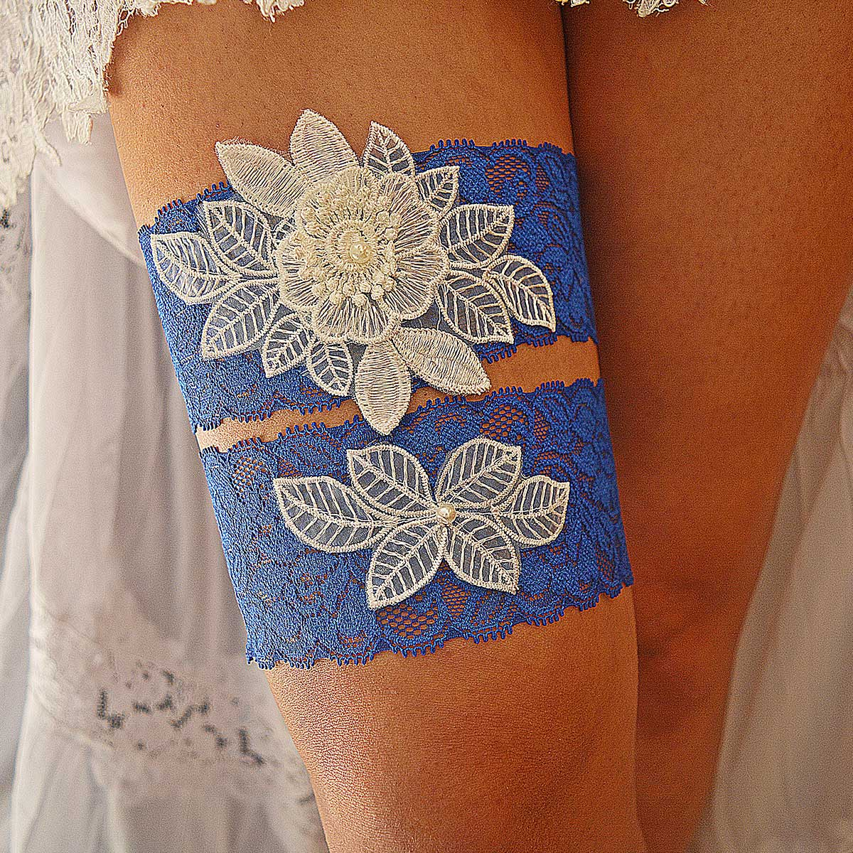 Royal Blue Bridal Garter With White Pearls & Lace 3D Applique