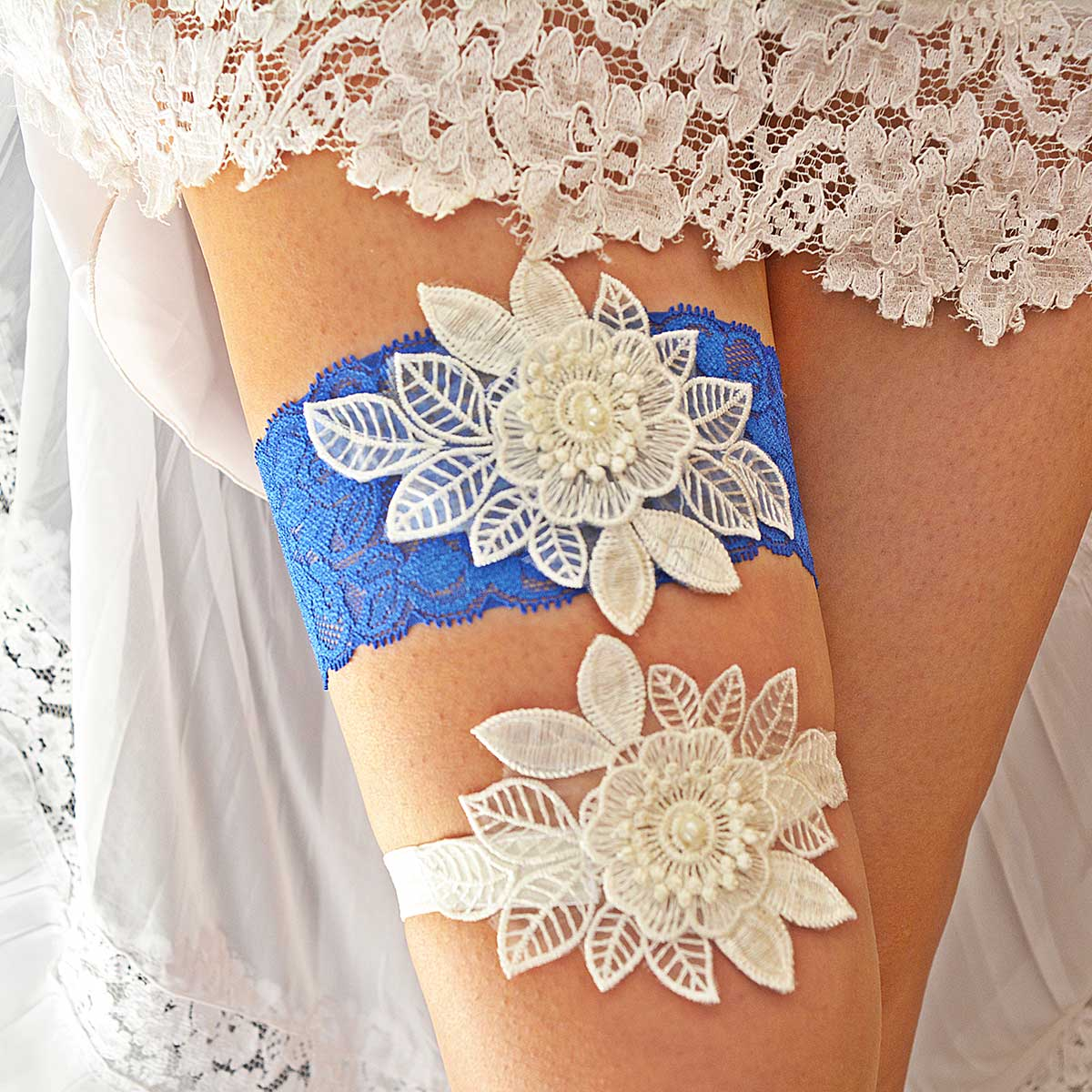 Royal Blue Garter With 3D White Flower Applique & Pearls