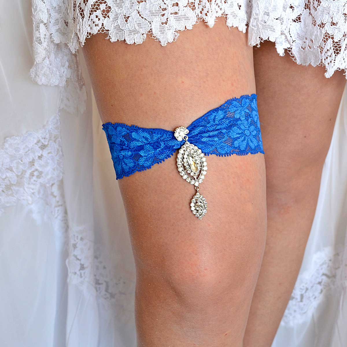 Royal Blue Wedding Garter Belt Set With Clear Rhinestone - Wedding Garter - SuzannaM Designs