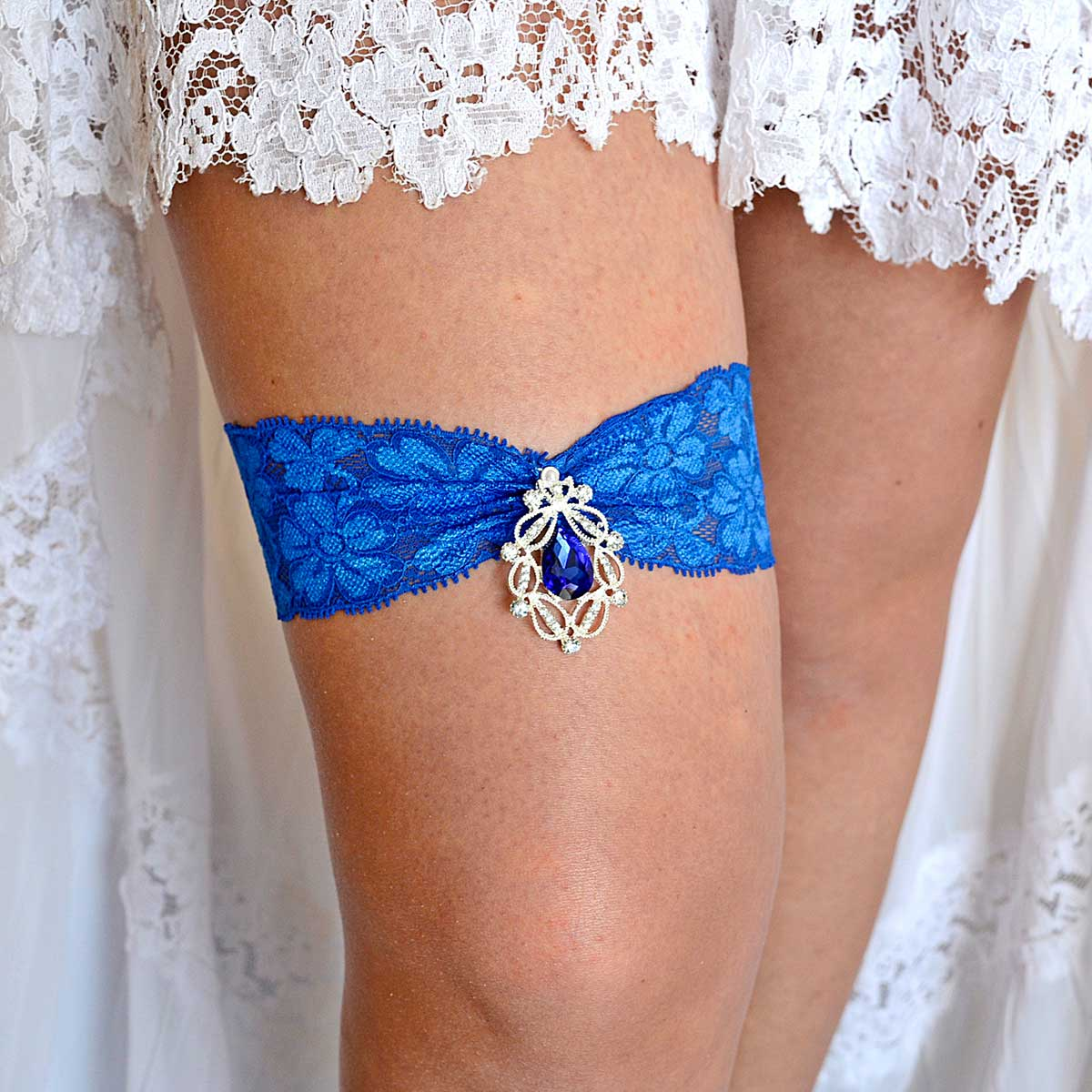 Royal Blue Wedding Garter Belt With Clear & Blue Rhinestone - Wedding Garter - SuzannaM Designs