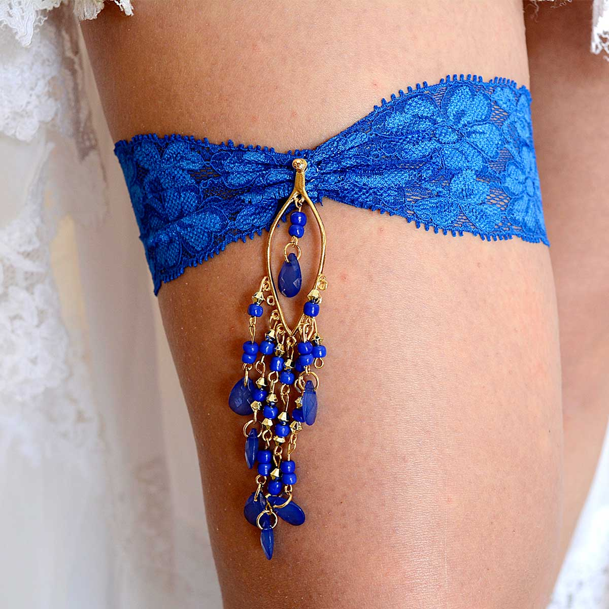 Royal Blue Wedding Garter Belt With Gold & Blue Rhinestone - Wedding Garter - SuzannaM Designs
