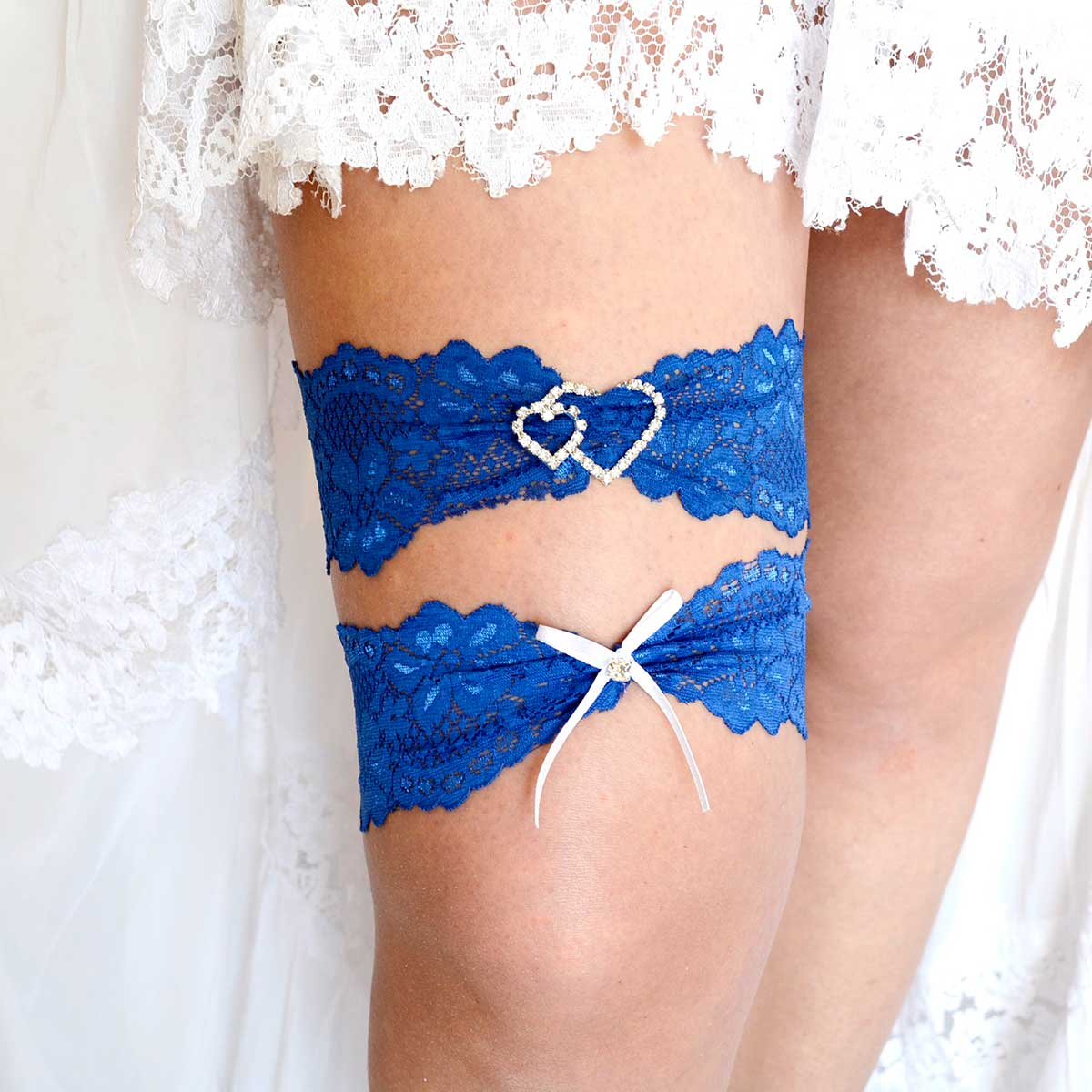 Royal Blue Bridal Garter Set With Clear Heart Rhinestone - Wedding Garter - SuzannaM Designs